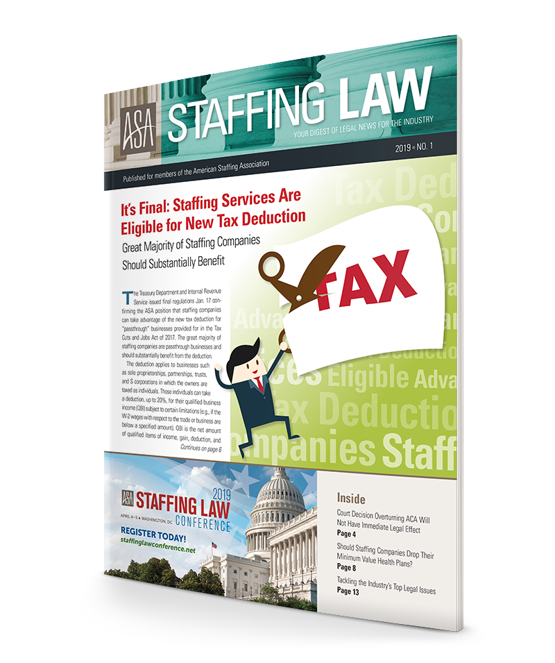 It's Final: Staffing Services Are Eligible for New Tax Deduction
